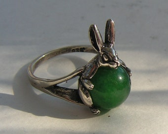 Sterling Silver Rabbit Ring With Aventurine