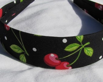 Black Cherry Dots Headband Hairband