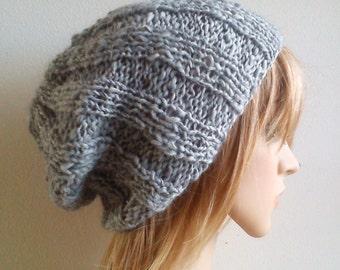 Fisherman hat ribbed slouchy beanie light silver gray grey alpaca blend hand knit classic chunky rustic unisex men women