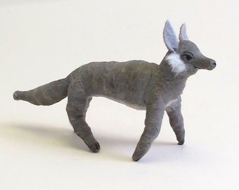Spun Cotton Vintage Inspired Wolf Ornament/Figure