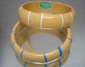 Pair of 1950's DuBarry Bangle Bracelets Yellow Stripe Vintage