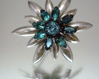 Blue Silver Spiked Pin Brooch Rhinestone Vintage