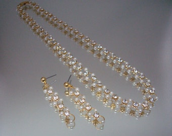 Delicate Faux Pearl Rhinestone Necklace & Earrings Wedding Bridal Vintage