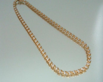 Sterling Silver Diamond Necklace Rose Gold Overlay Vintage Jewelry