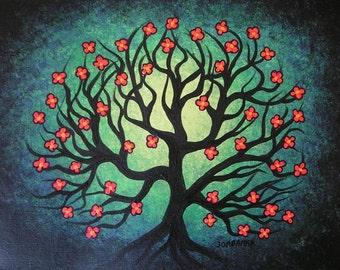Spring flowering TREE, Original fine art, Acrylic painting by Jordanka Yaretz, UNICEF Artist