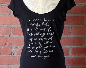 SALE - size SMALL - Last one - Mr. Darcy Proposal black with white ink scoop neck t shirt - Original Jane Austen