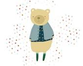 8x10 Illustration Print - poster, kids art, childrens art, baby gift, nursery artwork - OH BEAR