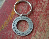 stamped aluminum washer keychain-man of my dreams-mother or father in law gift