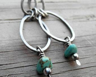 Turquoise Post Hoop Earrings Gemstone Hoops