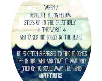 Adventure - Ralph Waldo Emerson Quote on Ocean background
