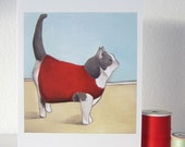 Cyber Monday Sale // Cat Wearing a Sweater // Blank Cat Card // Cat Sweater