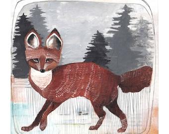 Art Print - Print of Oil Painting - Fox Art - Fox Print - Fox Artwork - Fox Art Print - Woodland Art - Wall Art - 8x10 Print -Winter and Red