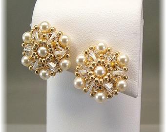 Cream Pearl and Crystal Beaded Clip On or Pierced Earrings, Clip On Wedding Earrings, Post Bridal Earrings, Statement Earrings