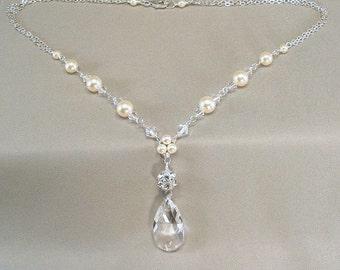 Sterling Silver, Cream Pearls and Swarovski Elements Rhinestone Necklace, Bridal Necklace, Wedding Jewelry, Rhinestone Jewelry