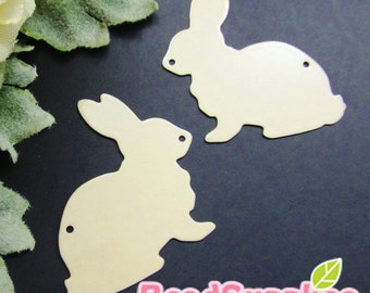 CH-ME-01899- Nickel Free, Rabbit silhouette computer-cut plate, Beige, 4 pcs