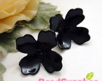 FN-ER-09055- Nickel Free, Black enameled, 4-petal Iris Earwire , 4 pairs