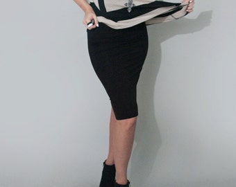 Black Pencil Skirt • Black Below the Knee • Fold Over Yoga Band Skirts • Skirts • Women • Clothing (No. 12)