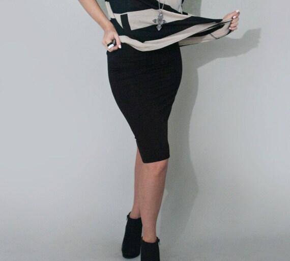 black pencil skirt black below the knee fold by loft415