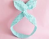 Dolly Bow Headwrap-Small Brown Polka Dots on Aqua