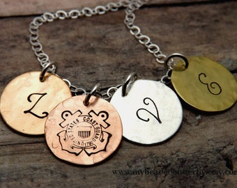 Coast Guard necklace-personalized necklace-coastie-USCG-LOVE-handstamped