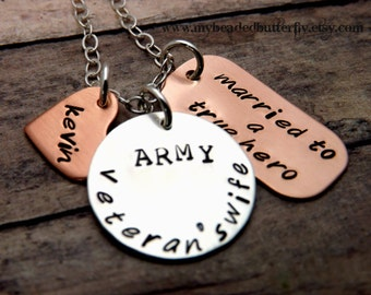 hand stamped sterling silver and copper veterans necklace We love our Veterans