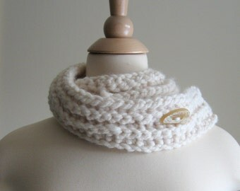 Neck Cozy Wrap Scarf - Cream with A Lemon and White Button