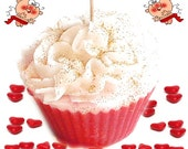 Glitter Cupcake Candle Red Hot Cinnamon Scent