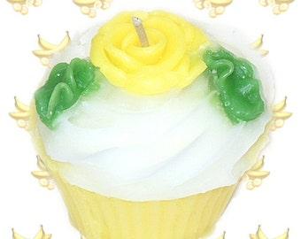 Banana Cake Cupcake Candle Bakery Scent Yellow Rose Decoration