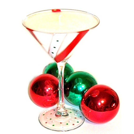 Martini Glass Candle Candy Cane Scent  Hand Painted Design Christmas Candle