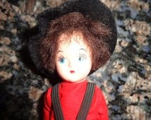 Vintage Amish Boy Doll Collectible Small Doll wearing handmade doll clothes Amish Boy Doll