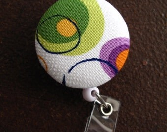 Clip On Retractable Badge Reel / Lanyard with Fabric Covered Button - Large Circles