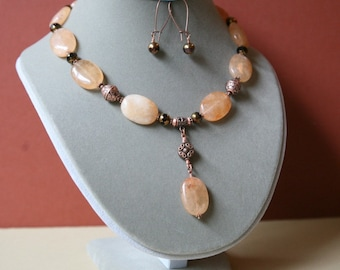 Peach Colored Malay Jade, Czech Glass and Copper Accented Dangling Necklace, Necklace and Earring Set, Dangling Gemstone Necklace