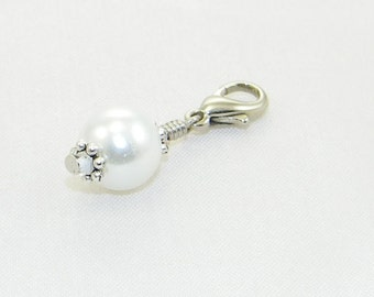Handmade glass pearl  lobster claw charm for link bracelets and necklaces, Clip on charm, Backpack charm, Zipper charm, Gift, Made to order