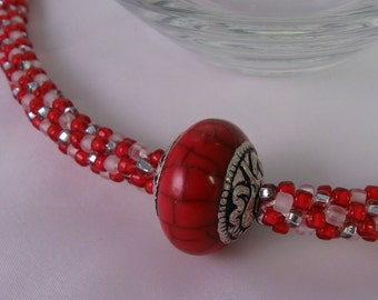 Hot Tomato Kumihimo Necklace