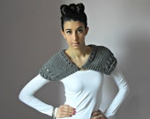 Handknitted Capelet Grey Gray - Handmade - Small Size