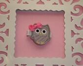 Grey Owl Hair Clip