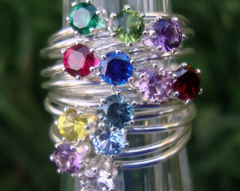 Ring  - build-your-own stack w chosen birthstones 4mm stones  - sterling silver - ONE ring Custom made in your Size