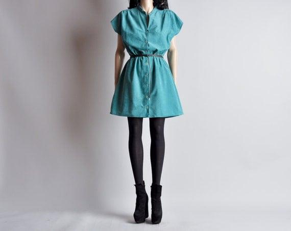 sea green dolman slv mini dress / ultrasuede / m