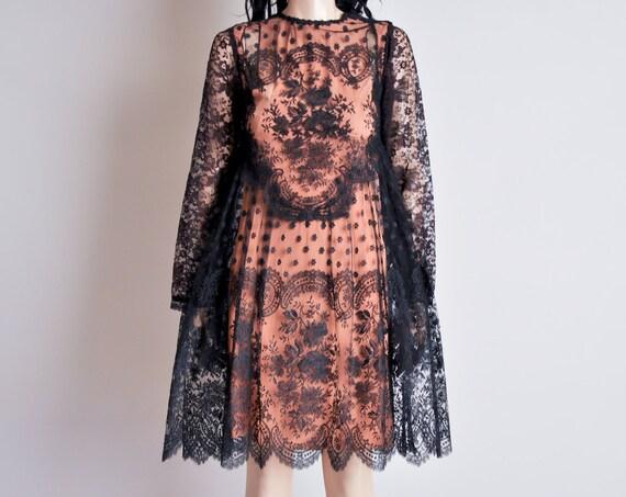 RESERVED. black chantilly lace dress / scallop hem / s