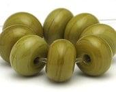 Handmade Lampwork Spacer Beads Green Ochre Wasabi SRA