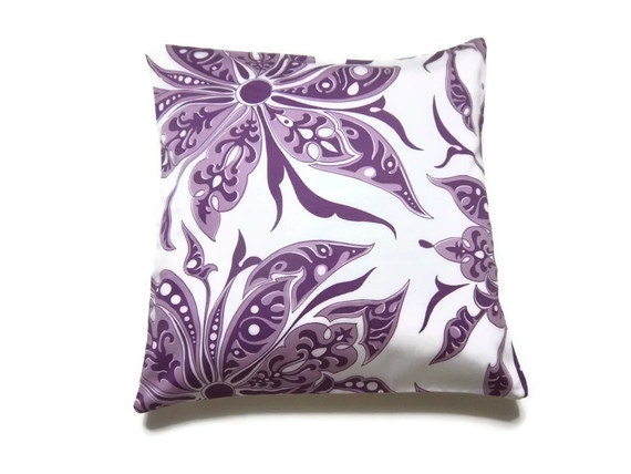 Decorative Pillow Cover Purple Lavender White Pillow Modern Floral Toss Throw Accent 16 inch