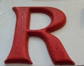 Red plastic wood look Sign letter Wall hanging - R