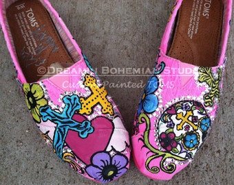 TOMS Shoes, Hand Painted Pink, Crosses Hearts Calaveras Folklorico Festival Flats for Bachelorette Party, Bridesmaids, Spanish Catholic,
