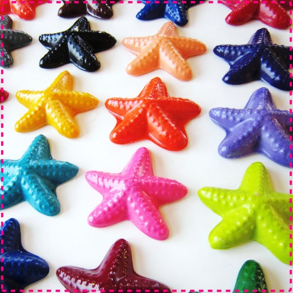 Recycled Crayons UNDER THE SEA Starfish Coloring Crayons - Kids' Party Pack of 20 Birthday Party Favors - Eco-Friendly in Asst Colors