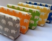Fabric Zippered Pouch Clutch Bag - Elephants - Choose the Color