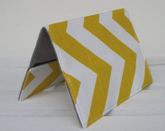 Passport Cover Fabric - Yellow and White Chevron - Zig Zag