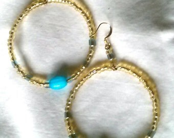 SALE Topaz and Turquoise Bead Hoops