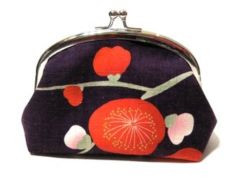 Silver Frame Purse / Pouch in Purple Japanese Tsubaki Fabric and Red Lining - Prune - Floral