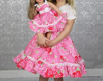 Girls Dress Valentine Easter Birthday Flower Girl tea party ruffled twirl dress romantic dress pink roses red roses Dress with doll dress