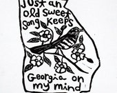 "Georgia state linoleum print with text + state bird and flower - 9""x12"" wall art"